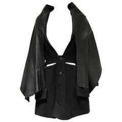 Vintage Yohji Yamamoto black wool coat dress with cape