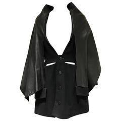 90s Yohji Yamamoto black wool coat dress with cape
