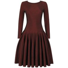 ALAIA Paris Black & Red Metallic Knit Fit & Flare Long Sleeve Cocktail Dress NWT