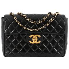 Chanel Vintage Classic Single Flap Bag Quilted Lambskin Jumbo