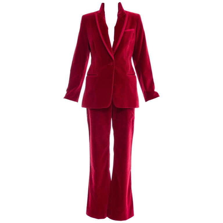 Tom Ford For Gucci Red Cotton Velvet Pantsuit, Autumn - Winter 1996 1
