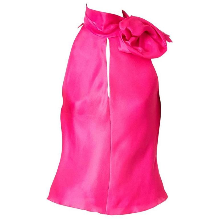 Jackie Fuchsia Organza Blouse with Flower Detail
