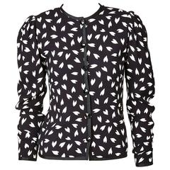 Yves Saint Laurent Patterned Silk Crepe Cropped Jacket