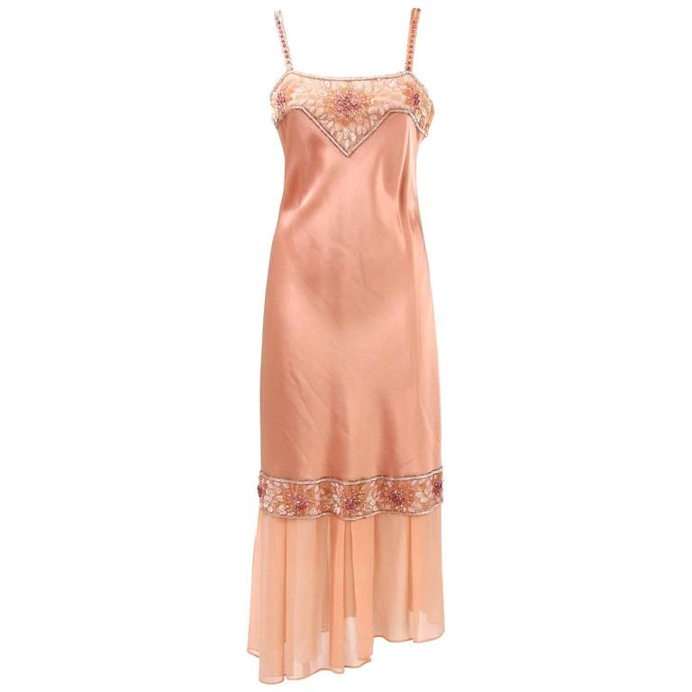 1970s Lancetti Salmon Pink Sequined Dress