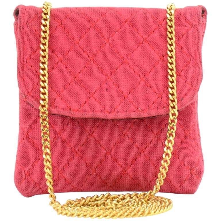 Chanel Rose Pink Quilted Cotton Mini Coin Case on Chain 1