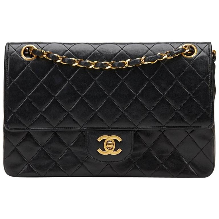 1980s Chanel Black Quilted Lambskin Vintage Medium Classic Double Flap Bag 1