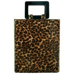 Yves Saint Laurent YSL Vintage Leopard Print Pony Hair Handbag