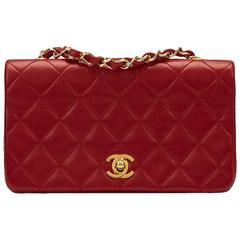 1990s Chanel Red Quilted Lambskin Vintage Mini Flap Bag