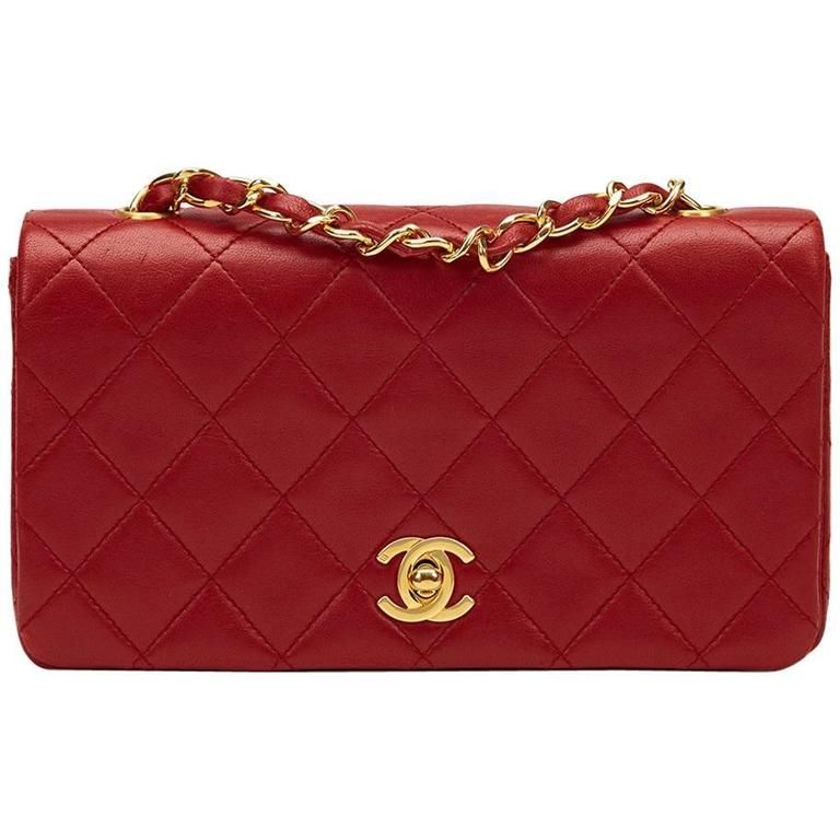 Chanel 1990s Red Quilted Lambskin Vintage Mini Flap Bag 1