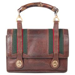 GUCCI VINTAGE Brown Pigskin Leather HANDBAG w/ Bamboo HANDLE