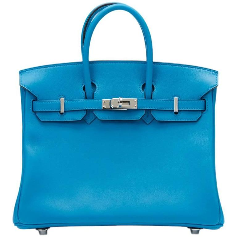2017 Hermes Blue Zanzibar Swift Leather Birkin 25cm 1