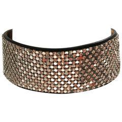 Giuseppe Zanotti Mesh Metal, Rhinestone and Leather Collar / Choker Necklace