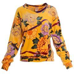 1980s KRIZIA Velvet Cotton Floral Print Sweater