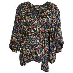 1980s MILA SCHÖN Floral Print Fabric Silk Blouse