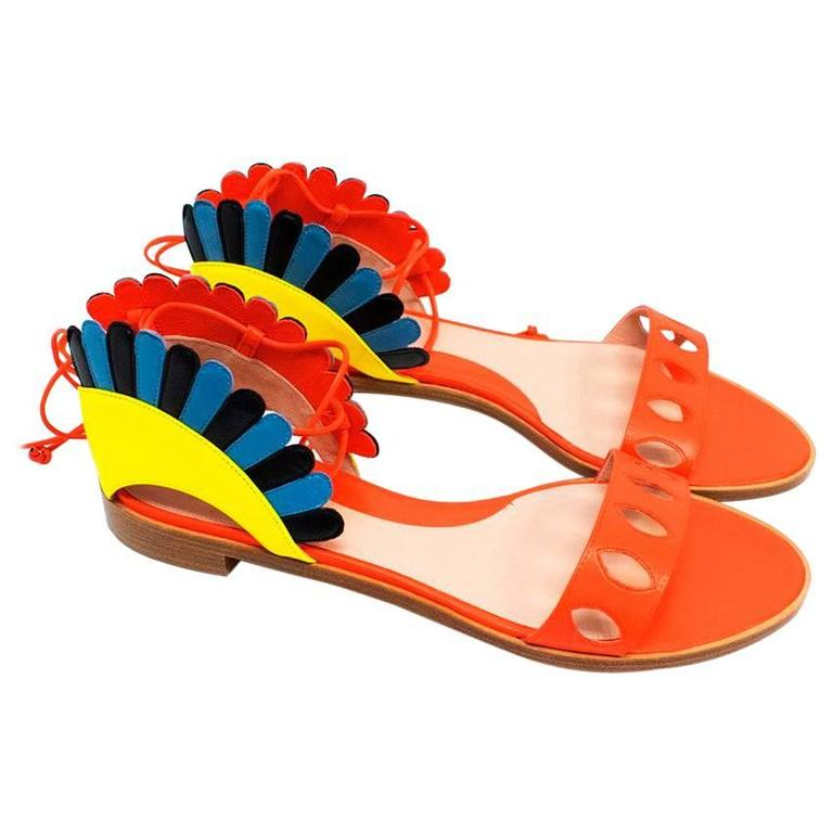 Paula Cademartori Multicolour Lotus Flat Sandals 1