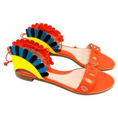 Paula Cademartori Multicolour Lotus Flat Sandals
