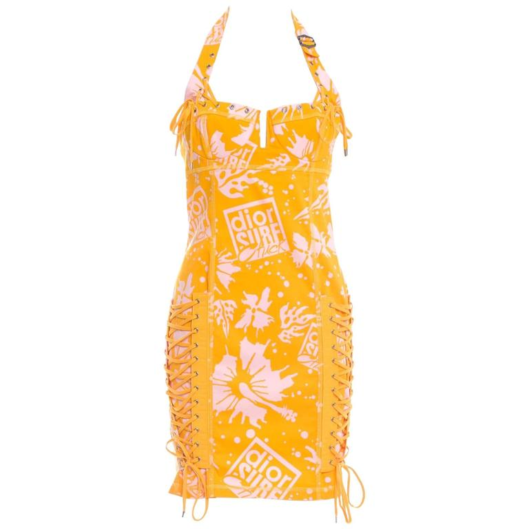 "Christian Dior by John Galliano Corset Lace ""Dior Surf Chick"" Mini Dress 1"