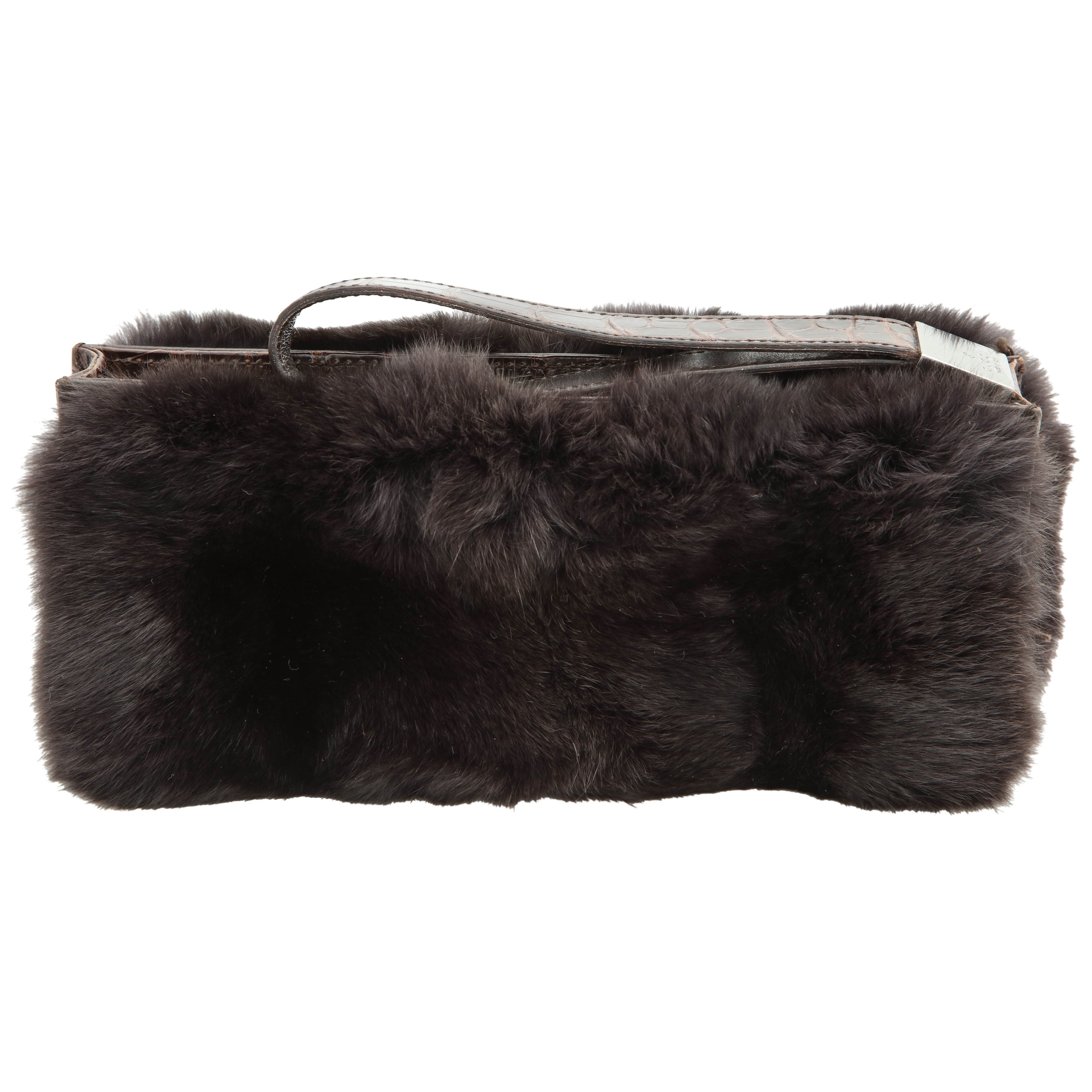 552ab4af406f Gucci Fur and Crocodile Clutch Bag For Sale at 1stdibs