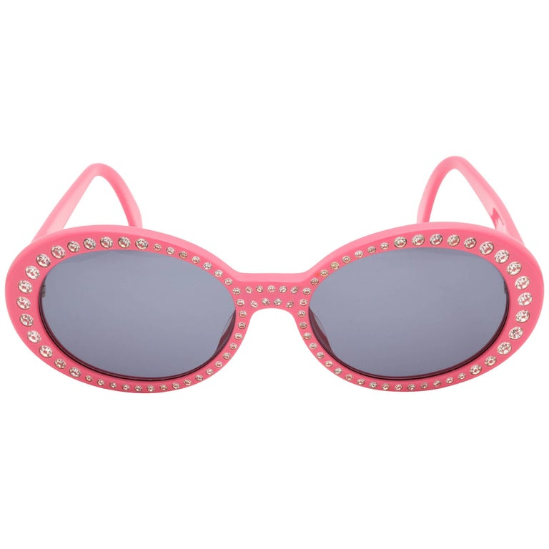 71488cdc17 Pink Vintage Chanel Rhinestone Sunglasses at 1stdibs