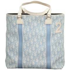 "John Galliano for Christian Dior Light Blue Logo Tote Bag with ""2"""
