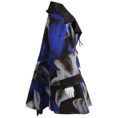 Issey Miyake Felted Black Coat with Blue and Grey Brushstroke Designs