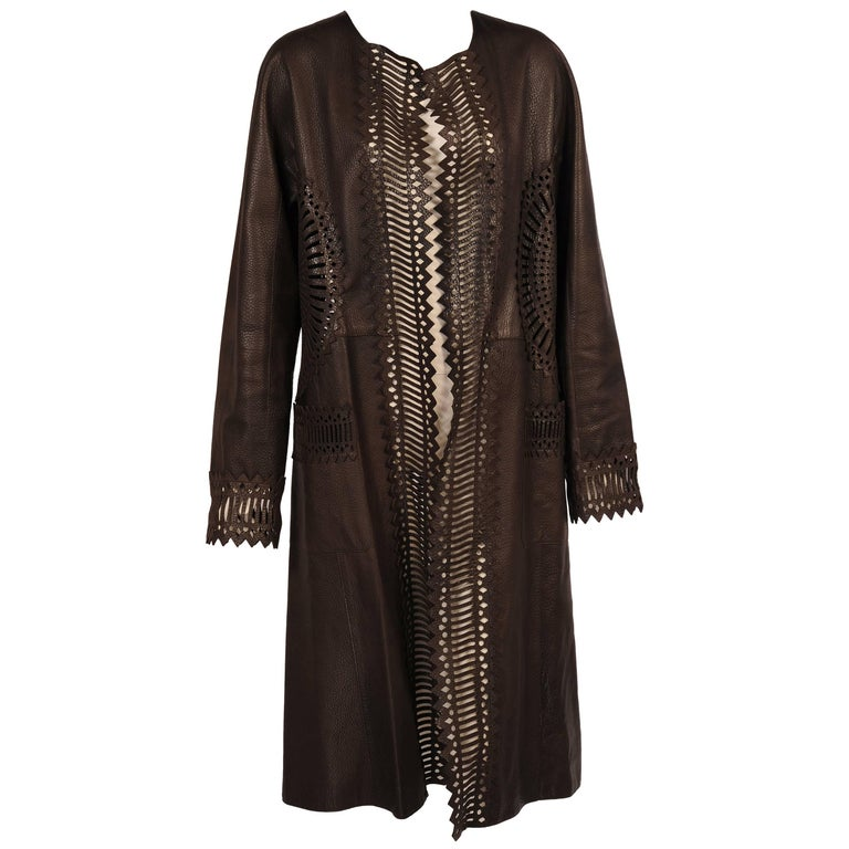 Gianfranco Ferre Chocolate Brown Laser Cut Leather Coat, Larger Size