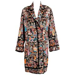 1920's Chinese Colorful Hand Embroidered Black Silk Coat