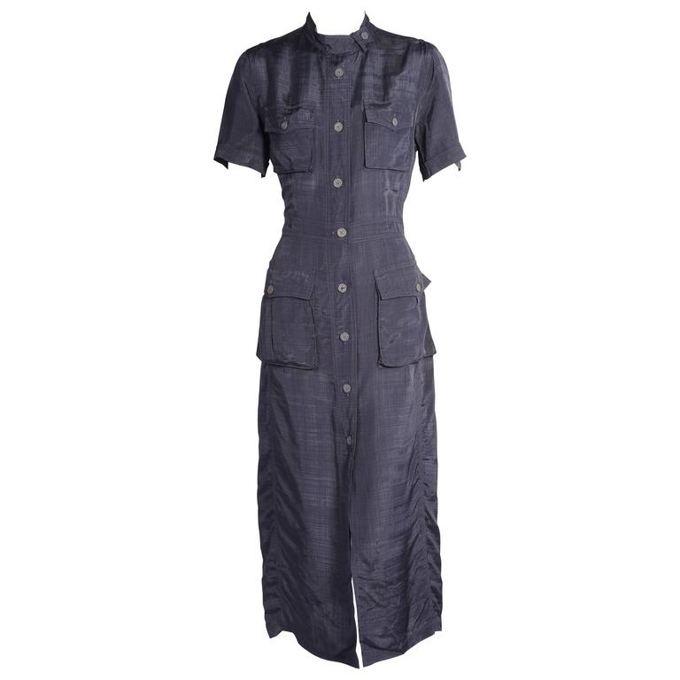 DRies Van Noten Navy Blue Button Front Dress
