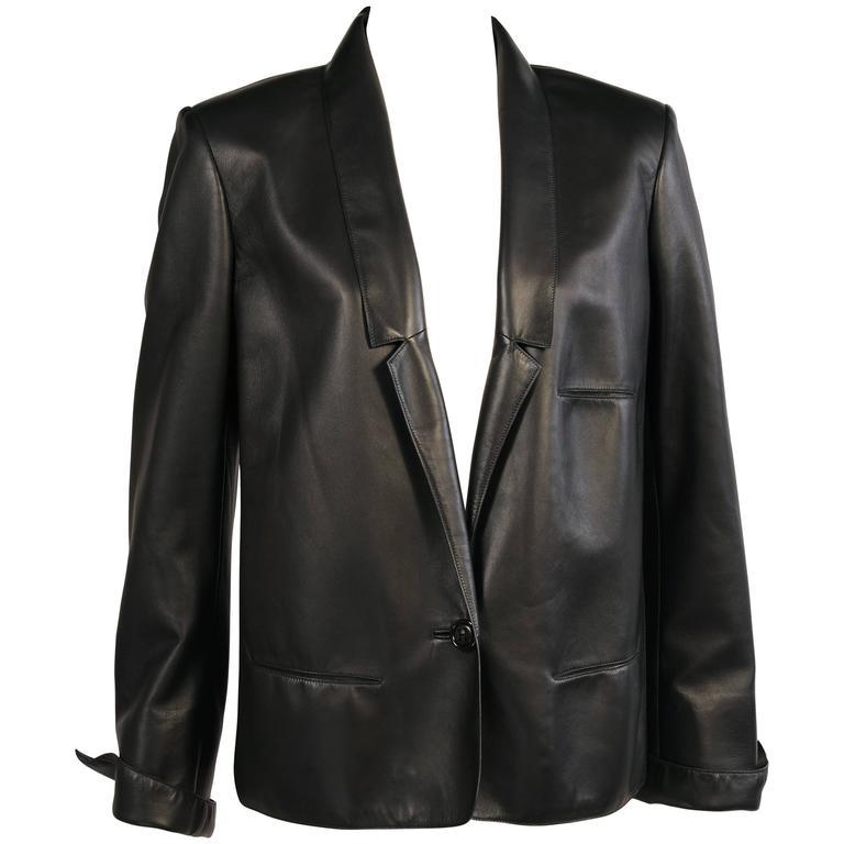 Martin Margiela for Hermes Black Lambskin Jacket circa 2000