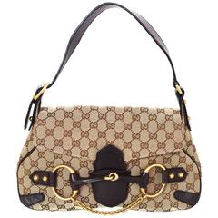 Gucci Brown Monogram Horsebit Flap Bag