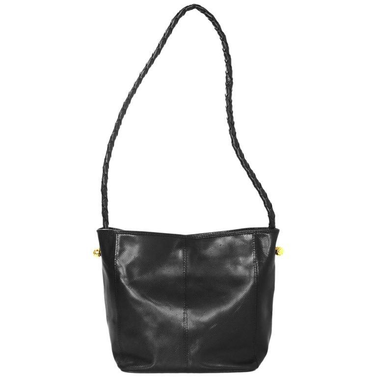 f65d439be3d5 Bottega Veneta Vintage Black Textured Leather Bucket Bag For Sale at ...
