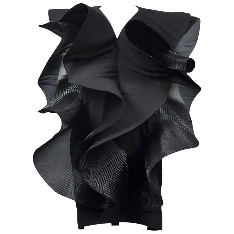 Pierre Cardin Couture Architectural Ruffle Dress For Sale at 1stdibs