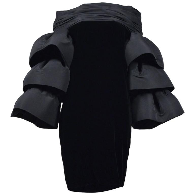 Pierre Cardin Couture Ruffle Sleeve Dress For Sale