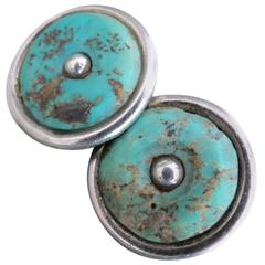 Vintage Turquoise Silver Earrings Modernist Mid Century