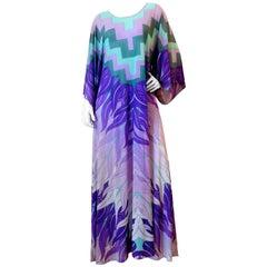 1970's Gottex Kimono Sleeve Caftan Maxi Dress