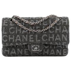Chanel Classic Double Flap Bag Printed Quilted Tweed Medium