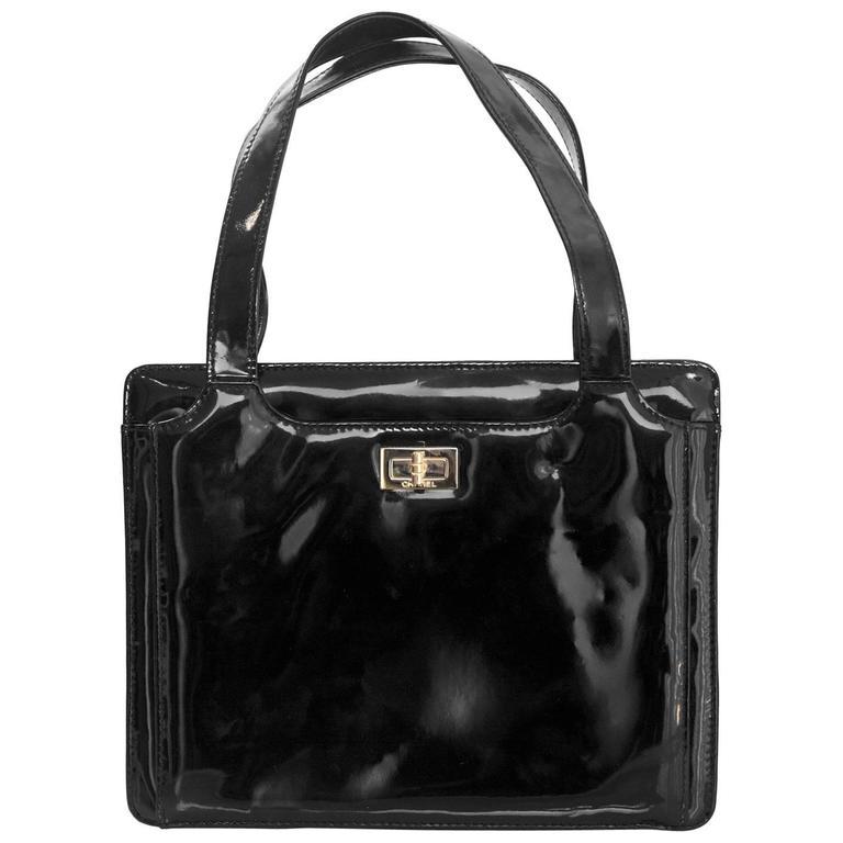Chanel '90s Vintage Black Patent Leather Bag GHW 1