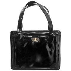 Chanel '90s Vintage Black Patent Leather Bag GHW