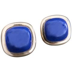 Vintage 14k 585 Gold Lapis Lazuli Earrings 14ct Gold