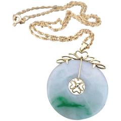 Vintage Chinese Apple Jade 14k Gold Pendant 9k Gold Necklace 14ct