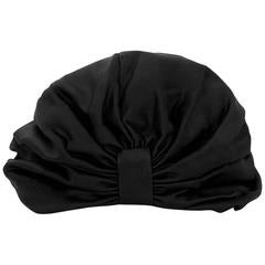 Jennifer Behr Black Satin Turban sz L