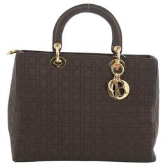 Christian Dior Lady Dior Handbag Cannage Quilt Nylon Large