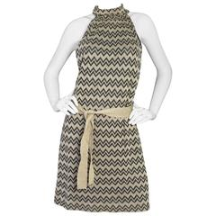 M Missoni Black & Gold Chevron Knit Shift Dress sz US12