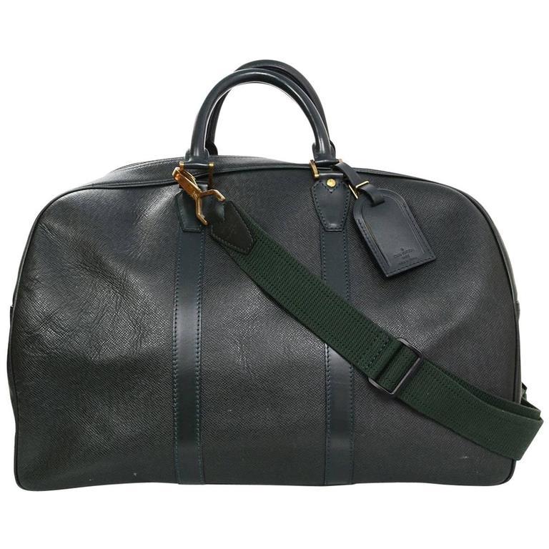louis vuitton overnight bag. louis vuitton green taiga leather large bowler duffle weekender bag 1 overnight t