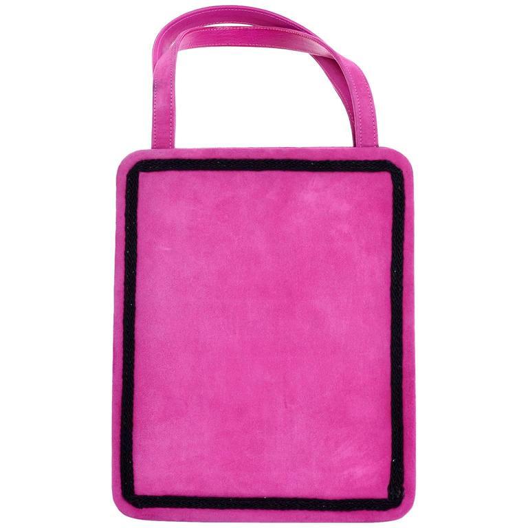 Andrea Pfister Vintage Pink Suede Handbag Silver Leather Lining ...