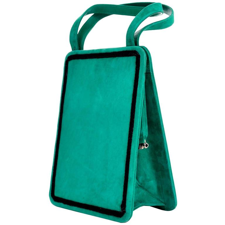 Andrea Pfister Handbag in Green Suede With Silver Leather Lining