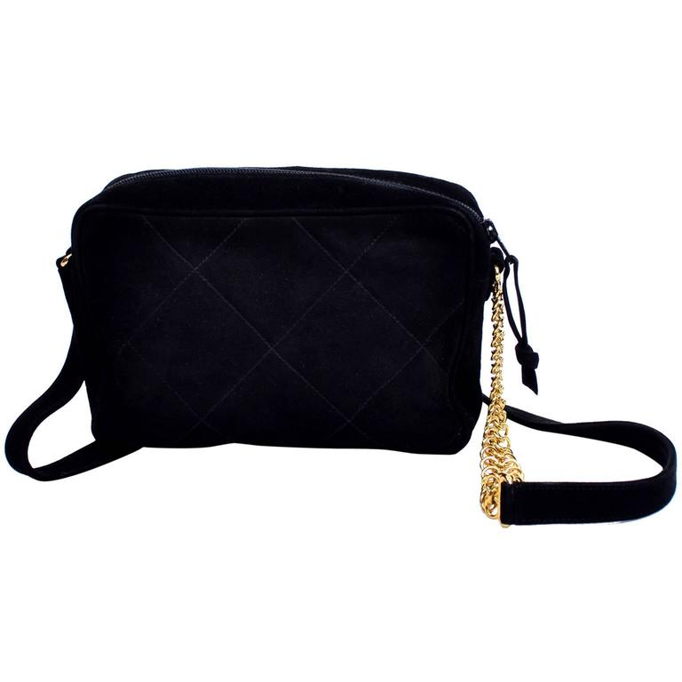 Aquascutum Black Suede Quilted Crossbody Handbag With Gold Chain