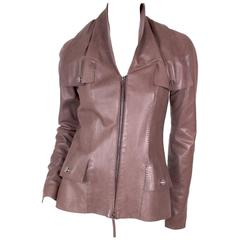 Jean Paul Gaultier Brown Leather Jacket with Lock Details circa 1990s