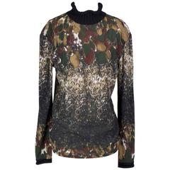 Jean Paul Gaultier Mesh Camo Turtleneck with Knit Cuffs and Collar circa 1990s