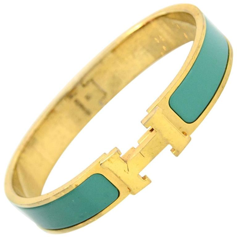 hermes turquoise and gold narrow h clic clac bangle bracelet gm for sale at 1stdibs